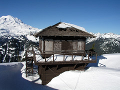 Mt Rainier and Fire Lookout : NPS Photo