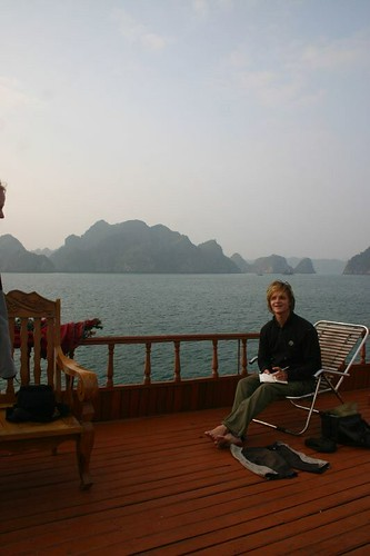 Enjoying a private hour on the junk in Halong Bay