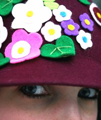 Here's looking at you, 40,000 times! (Molly Simoneau) Tags: flowers face hat self eyes felt molly 40000views me