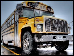 School time (dieies) Tags: canada yellow jaune quebec sale dirty schoolbus hdr colebus