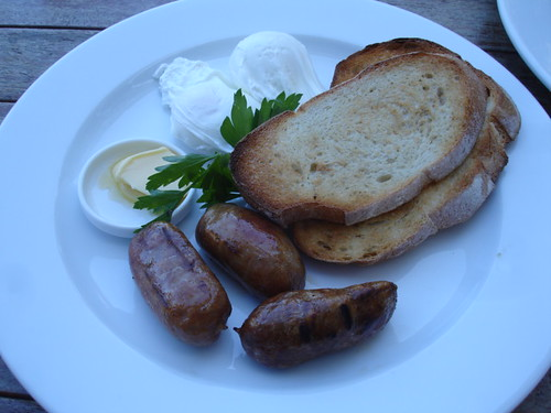 Poach eggs and chicken & tomato sausages.  Forbes & Burton - Surry Hills