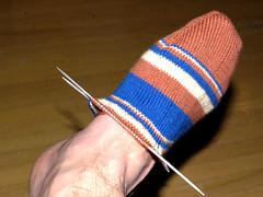 Calcet�n de lana, wool handknit sock