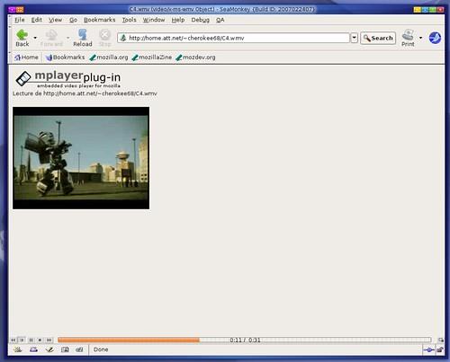 une vidéo d'essai wmv dans une ubuntu edgy eft AMD64