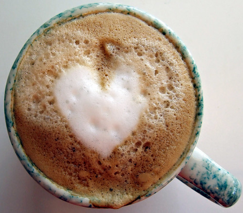 heart in coffee... trying for the virgin mary tomorrow