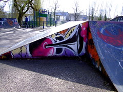 Skate Park (Mockney Rebel) Tags: bike graffiti fuji skatepark winchester bycycle fujifinepixs9600 againstflickrcensorship