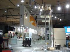 CeBIT Aufbautag - hier der BMBF-Stand