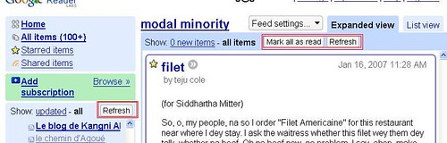 google reader uses buttons