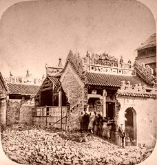 Chinese Joss House/Opium War (ookami_dou) Tags: china history vintage stereoview  bombing zambra  negretti rossier opiumwar