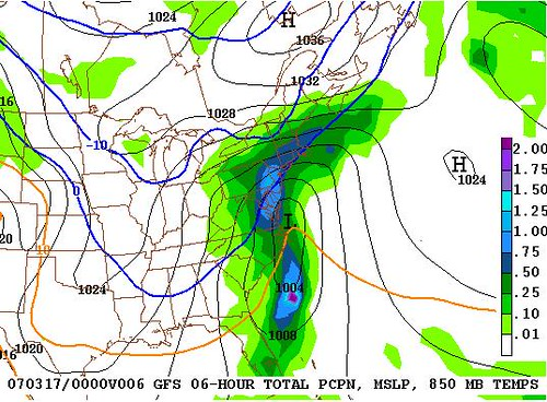 GFS Model Projection for 8PM Friday 3-16-07