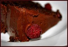Y-U-M-M-Y!! (~Dezz~) Tags: food cake dessert yummy sweet chocolate homemade canondigitalrebelxti canoneod400d flickrchallengegroup flickrchallengewinner raspberrieschocolatecake