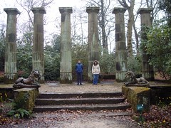 Ruined Pillars in Wood (Steve and Clare) Tags: gardening horticulture 2007 rhsharlowcarr