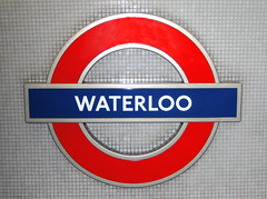 Waterloo Tube Sign (catya_maria007) Tags: uk greatbritain blue red england signs london sign canon underground subway europa europe britishisles metro unitedkingdom britain tube waterloo digitalcamera redandblue february 2007 britannia waterloostation lontoo isobritannia tubesigns eurooppa englanti canondigitalixus30 britteinsaaret waterlootube 26022007