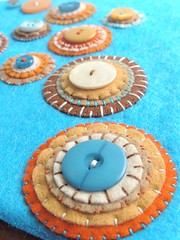 Storage handbag - detail (a little bit of just because) Tags: blue circles felt storage handsewn handbag