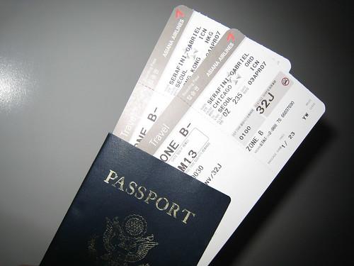 Passport + tickets to Seoul, Hong Kong