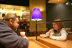 Mexico Trip_0620 f1 (shieken) Tags: california light people usa man male men guy coffee lamp girl female canon person eos store cafe friend purple ryan violet starbucks newman 1740mm 30d ryannewman beckah archambault beckaharchambault