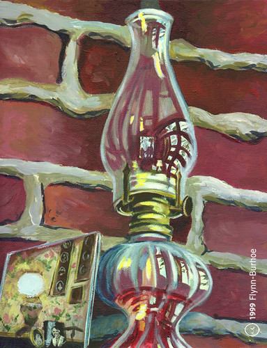 Flynn-Burhoe Storm Lantern on Fireplace with Reflections 1999