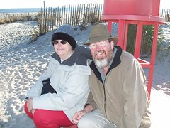 tricia and david at the southern most point (without being in sand) in nj.