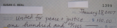 $100 for United for Peace and Justice