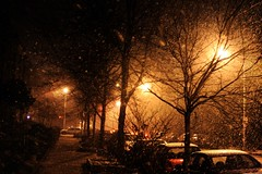 Walking the Streets in the Snow, at Night 3 (Eduardo Veguilla) Tags: urban snow night canon baltimore charlesvillage
