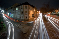 all they left behind was some light (Mace2000) Tags: street city longexposure bridge light cars corner germany deutschland 350d nightshot trails karlsruhe langzeitbelichtung mace2000 lammstr kriegsstr img9488
