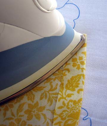 Ironing the fabric and seams