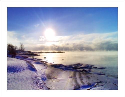 Mist-covered sea