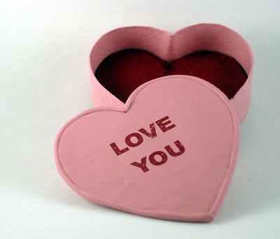 "Pink Love Heart Box. This heart box is approximately 3"" in diameter and was"