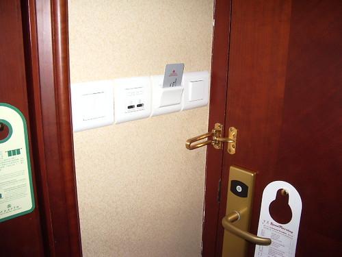 Hotel door and light switch