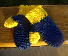 blue and yellow mittens