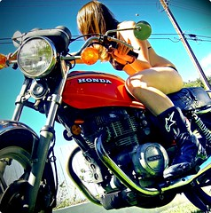 59/365. (kooop) Tags: selfportrait girl santabarbara explore motorcycle kelly swimsuit alpinestars hondamatic 365days