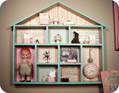 my finished house shadowbox! (holiday_jenny) Tags: pink shadow favorite house bunny art clock cakes floral collage sepia vintage miniatures photo ballerina aqua doll sweet box mixedmedia felt things ephemera collection papers scrap celluloid shabbychic