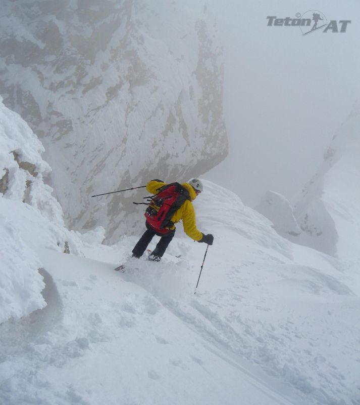Brian Harder skis from near the summit of the Middle Teton