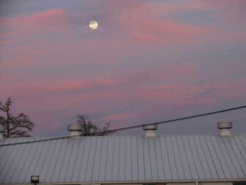 Moon rising in the east - New Orleans - March 2, 2007