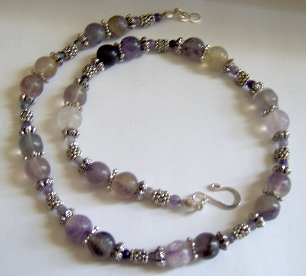 Fluorite and Bali Silver Necklace