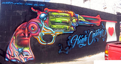 Vyal (Chele In LA) Tags: street urban streetart west color brick art colors wall graffiti la losangeles mural paint gun flag graf details style spray spraypaint walls graff piece westcoast legal vyal cheleinla westcoaststyle graffitihunters