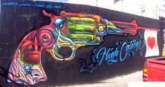 Vyal (Chele In LA) Tags: street urban streetart west color brick art colors wall graffiti la losangeles mural paint gun flag graf details style spray spraypaint walls graff piece westcoast legal v