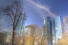 Frankfurt skyline HDR (stmeg) Tags: blue sky white skyline clouds skyscraper germany spring nikon skyscrapers frankfurt d70s himmel wolken blau dslr polarizer wei hdr frankfurtammain hochhaus pol hochhuser polfilter 3xp photomatix spiegelreflex tonemapping