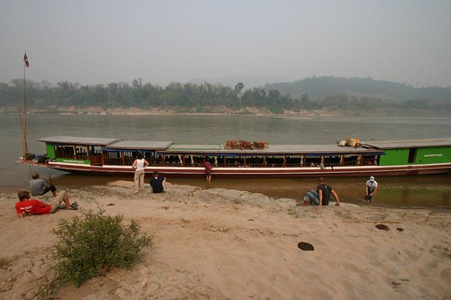 Stranded on the Mekong River bed...