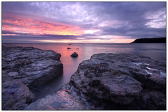 Robin Hoods Bay Sunrise (jasontheaker) Tags: uk longexposure sea clouds sunrise coast rocks yorkshire northsea robinhoodsbay jasontheaker costtocost