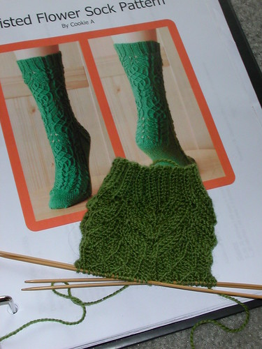 Start of Twisted Flower sock