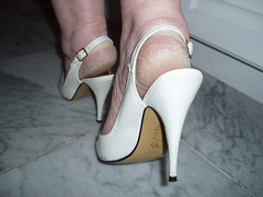 White High Heels 2 (heelsandfeet) Tags: sexy feet fetish highheels bare wife heels slings ankles slingbacks stilleto