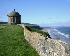 Mussenden Temple, Downhill Estate, Near Castlerock, Northern Ireland, September 2006 (jch96) Tags: ireland sea cliff grass temple coast surf northernireland coastline stonewall hervey nationaltrust castlerock ulster mussenden irishcoast