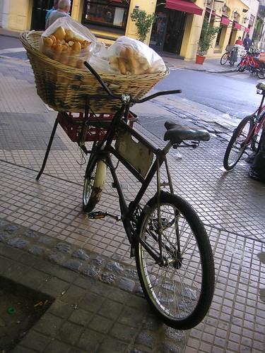 Bread basket on a bike