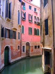 Venice (Karri O.) Tags: pink venice houses urban italy water beautiful buildings canal calm fave colourful lovely oldhouses flickraward diamondclassphotographer flickrdiamond superhearts gorgeousvenice