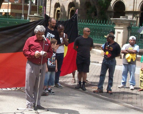 Uncle Des Sandy - Invasion Day Rally and March, Parliament House, George St, Brisbane, Queensland, Australia 070126
