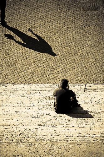 The Missing Element -- roma rome shadow monti sampietrini flowers steps dei trinitàdeimonti man sitting trinità