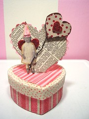 The most darling altered art Valentine's box from my sweet blogland friend Natalie! (holiday_jenny) Tags: pink red art collage glitter altered vintage paper photo mixed media day heart handmade mixedmedia valentine gift valentines