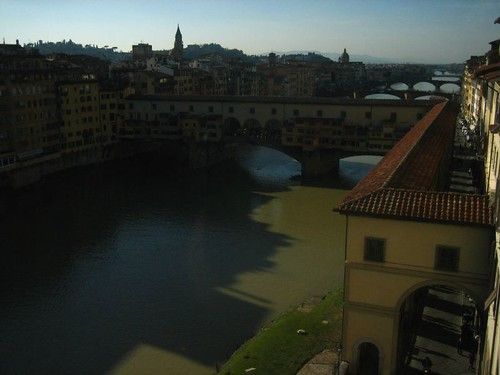 View of the Vasari Corridor from a window at the Uffizi