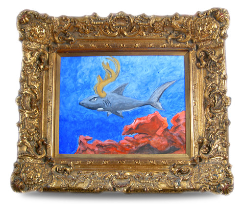 The Elusive Antlered Shark in His Gilded Frame