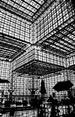 Mr. & Ms. Architectural Silhouette Enjoy Lunch with I.M. Pei (Timothy Schenck) Tags: nyc newyorkcity newyork architecture nikon impei javitscenter d80 nikond80